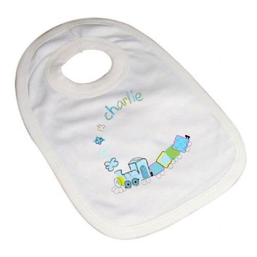Personalised Patchwork Train Baby Bib